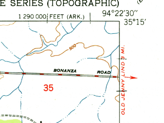 Reduced fragment of topographic map en--usgs--024k--018857--(1951)--N035-15-00_W094-30-00--N035-07-30_W094-22-30; towns and cities Bonanza, Hackett, Pocola