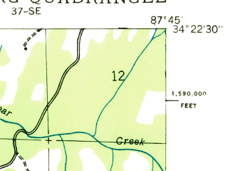 Reduced fragment of topographic map en--usgs--024k--018862--(1936)--N034-22-30_W087-52-30--N034-15-00_W087-45-00; towns and cities Hackleburg