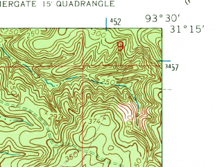 Reduced fragment of topographic map en--usgs--024k--018869--(1954)--N031-15-00_W093-37-30--N031-07-30_W093-30-00
