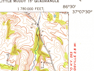 Reduced fragment of topographic map en--usgs--024k--018876--(1954)--N037-07-30_W086-37-30--N037-00-00_W086-30-00