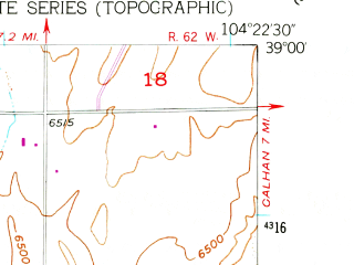 Reduced fragment of topographic map en--usgs--024k--018881--(1954)--N039-00-00_W104-30-00--N038-52-30_W104-22-30