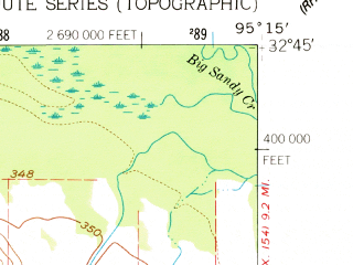 Reduced fragment of topographic map en--usgs--024k--018928--(1960)--N032-45-00_W095-22-30--N032-37-30_W095-15-00
