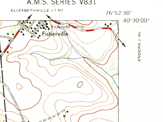 Reduced fragment of topographic map en--usgs--024k--018980--(1947)--N040-30-00_W077-00-00--N040-22-30_W076-52-30; towns and cities New Buffalo, Halifax