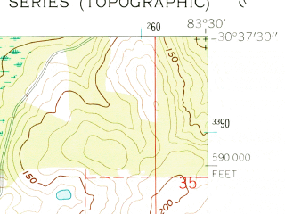 Reduced fragment of topographic map en--usgs--024k--019041--(1962)--N030-37-30_W083-37-30--N030-30-00_W083-30-00 in area of Johannah Lake
