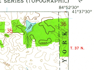 Reduced fragment of topographic map en--usgs--024k--019066--(1959)--N041-37-30_W085-00-00--N041-30-00_W084-52-30; towns and cities Hamilton