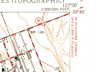 Reduced fragment of topographic map en--usgs--024k--019077--(1950)--N039-45-00_W122-07-30--N039-37-30_W122-00-00; towns and cities Hamilton City