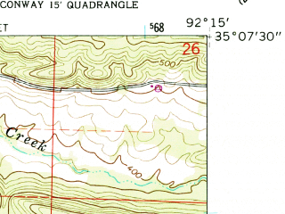 Reduced fragment of topographic map en--usgs--024k--019092--(1961)--N035-07-30_W092-22-30--N035-00-00_W092-15-00