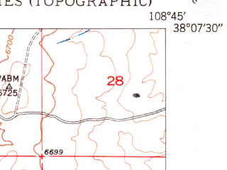 Reduced fragment of topographic map en--usgs--024k--019107--(1950)--N038-07-30_W108-52-30--N038-00-00_W108-45-00