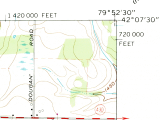 Reduced fragment of topographic map en--usgs--024k--019109--(1960)--N042-07-30_W080-00-00--N042-00-00_W079-52-30