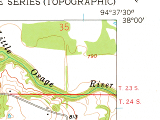 Reduced fragment of topographic map en--usgs--024k--019116--(1958)--N038-00-00_W094-45-00--N037-52-30_W094-37-30