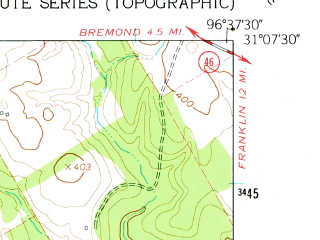 Reduced fragment of topographic map en--usgs--024k--019119--(1962)--N031-07-30_W096-45-00--N031-00-00_W096-37-30