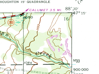 Reduced fragment of topographic map en--usgs--024k--019165--(1946)--N047-15-00_W088-37-30--N047-07-30_W088-30-00; towns and cities Hancock