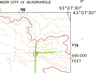 Reduced fragment of topographic map en--usgs--024k--019182--(1959)--N043-07-30_W093-15-00--N043-00-00_W093-07-30