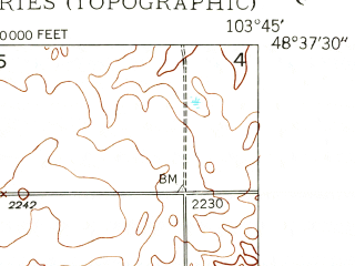 Reduced fragment of topographic map en--usgs--024k--019191--(1948)--N048-37-30_W103-52-30--N048-30-00_W103-45-00; towns and cities Hanks