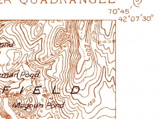 Reduced fragment of topographic map en--usgs--024k--019225--(1935)--N042-07-30_W070-52-30--N042-00-00_W070-45-00; towns and cities Hanson, North Pembroke