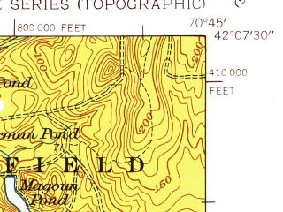 Reduced fragment of topographic map en--usgs--024k--019225--(1948)--N042-07-30_W070-52-30--N042-00-00_W070-45-00; towns and cities Hanson, North Pembroke