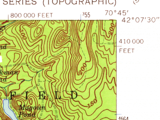 Reduced fragment of topographic map en--usgs--024k--019225--(1962)--N042-07-30_W070-52-30--N042-00-00_W070-45-00; towns and cities Hanson, North Pembroke
