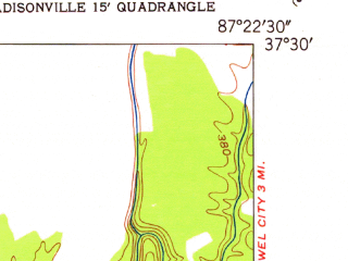Reduced fragment of topographic map en--usgs--024k--019249--(1952)--N037-30-00_W087-30-00--N037-22-30_W087-22-30; towns and cities Hanson