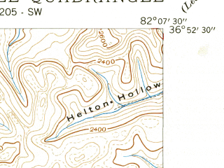 Reduced fragment of topographic map en--usgs--024k--019251--(1939)--N036-52-30_W082-15-00--N036-45-00_W082-07-30