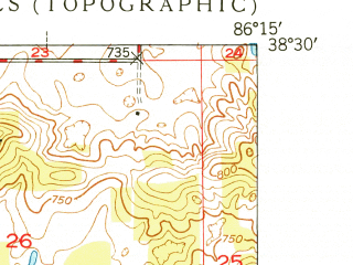 Reduced fragment of topographic map en--usgs--024k--019304--(1949)--N038-30-00_W086-22-30--N038-22-30_W086-15-00; towns and cities Hardinsburg