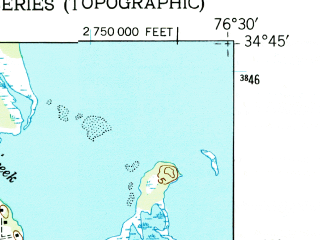 Reduced fragment of topographic map en--usgs--024k--019333--(1949)--N034-45-00_W076-37-30--N034-37-30_W076-30-00; towns and cities Harkers Island