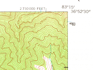 Reduced fragment of topographic map en--usgs--024k--019334--(1954)--N036-52-30_W083-22-30--N036-45-00_W083-15-00; towns and cities Harlan, Loyall