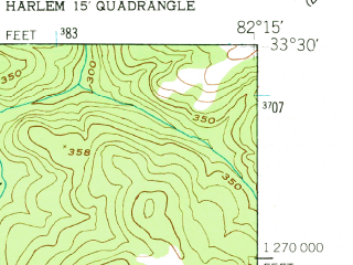 Reduced fragment of topographic map en--usgs--024k--019339--(1948)--N033-30-00_W082-22-30--N033-22-30_W082-15-00; towns and cities Harlem