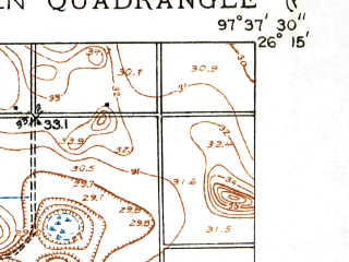 Reduced fragment of topographic map en--usgs--024k--019347--(1929)--N026-15-00_W097-45-00--N026-07-30_W097-37-30; towns and cities Harlingen, San Benito, Combes