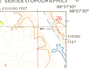 Reduced fragment of topographic map en--usgs--024k--019351--(1958)--N048-07-30_W099-45-00--N048-00-00_W099-37-30