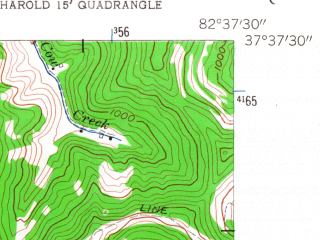 Reduced fragment of topographic map en--usgs--024k--019378--(1954)--N037-37-30_W082-45-00--N037-30-00_W082-37-30; towns and cities Allen