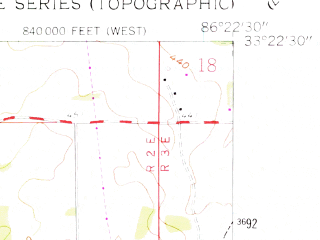 Reduced fragment of topographic map en--usgs--024k--019392--(1958)--N033-22-30_W086-30-00--N033-15-00_W086-22-30; towns and cities Harpersville