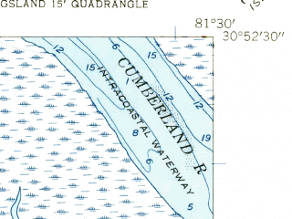 Reduced fragment of topographic map en--usgs--024k--019413--(1958)--N030-52-30_W081-37-30--N030-45-00_W081-30-00; towns and cities St. Marys, Kings Bay Base