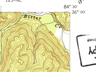 Reduced fragment of topographic map en--usgs--024k--019414--(1941)--N036-00-00_W084-37-30--N035-52-30_W084-30-00; towns and cities Harriman, Oakdale