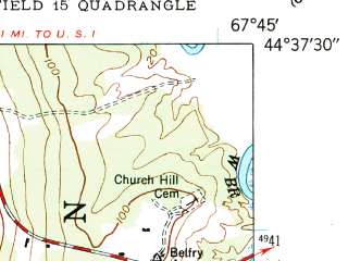 Reduced fragment of topographic map en--usgs--024k--019417--(1948)--N044-37-30_W067-52-30--N044-30-00_W067-45-00 in area of Harrington, Flat Bay, Back Bay