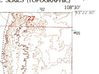 Reduced fragment of topographic map en--usgs--024k--019427--(1958)--N043-22-30_W108-37-30--N043-15-00_W108-30-00