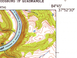 Reduced fragment of topographic map en--usgs--024k--019481--(1952)--N037-52-30_W084-52-30--N037-45-00_W084-45-00; towns and cities Harrodsburg, Burgin
