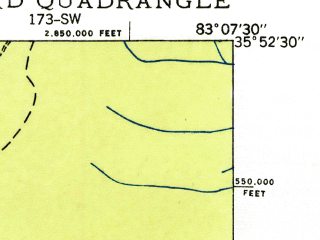 Reduced fragment of topographic map en--usgs--024k--019502--(1935)--N035-52-30_W083-15-00--N035-45-00_W083-07-30