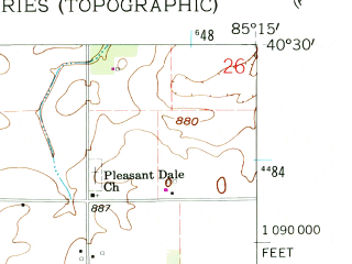 Reduced fragment of topographic map en--usgs--024k--019508--(1960)--N040-30-00_W085-22-30--N040-22-30_W085-15-00; towns and cities Hartford City