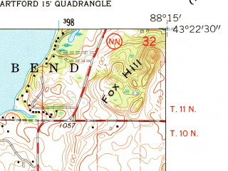 Reduced fragment of topographic map en--usgs--024k--019510--(1959)--N043-22-30_W088-22-30--N043-15-00_W088-15-00; towns and cities Slinger