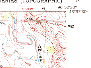 Reduced fragment of topographic map en--usgs--024k--019513--(1962)--N043-37-30_W097-00-00--N043-30-00_W096-52-30; towns and cities Hartford