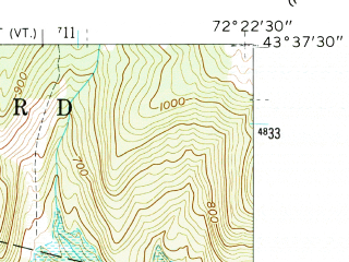 Reduced fragment of topographic map en--usgs--024k--019523--(1959)--N043-37-30_W072-30-00--N043-30-00_W072-22-30