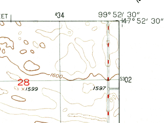 Reduced fragment of topographic map en--usgs--024k--019569--(1951)--N047-52-30_W100-00-00--N047-45-00_W099-52-30; towns and cities Harvey