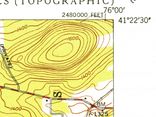 Reduced fragment of topographic map en--usgs--024k--019582--(1949)--N041-22-30_W076-07-30--N041-15-00_W076-00-00; towns and cities Harveys Lake