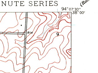 Reduced fragment of topographic map en--usgs--024k--019586--(1939)--N038-00-00_W094-15-00--N037-52-30_W094-07-30; towns and cities Harwood, Walker