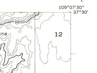 Reduced fragment of topographic map en--usgs--024k--019635--(1957)--N037-30-00_W109-15-00--N037-22-30_W109-07-30