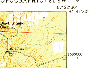 Reduced fragment of topographic map en--usgs--024k--019660--(1951)--N034-37-30_W087-30-00--N034-30-00_W087-22-30