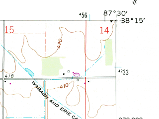 Reduced fragment of topographic map en--usgs--024k--019665--(1961)--N038-15-00_W087-37-30--N038-07-30_W087-30-00; towns and cities Fort Branch, Haubstadt