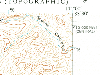 Reduced fragment of topographic map en--usgs--024k--019674--(1948)--N033-30-00_W111-07-30--N033-22-30_W111-00-00