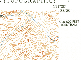 Reduced fragment of topographic map en--usgs--024k--019674--(1949)--N033-30-00_W111-07-30--N033-22-30_W111-00-00