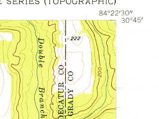 Reduced fragment of topographic map en--usgs--024k--019680--(1956)--N030-45-00_W084-30-00--N030-37-30_W084-22-30; towns and cities Attapulgus